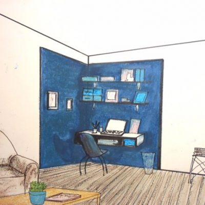 Illustration - Mur bleu bureau - Brio Décor
